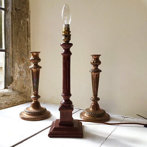 Vintage mahogany Doric column lamp
