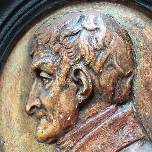 Antique circular pottery bust plaque of the Duke of Wellington