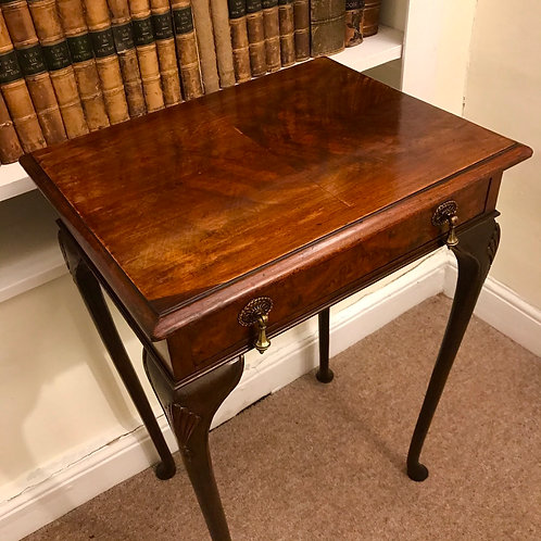 Edwardian walnut lamp table on slender cabriole legs