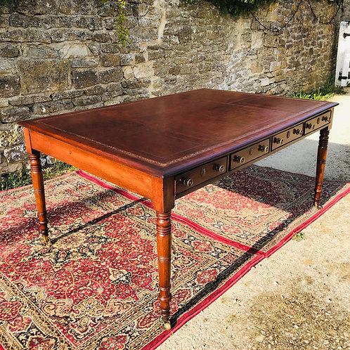 Large Antique Mahogany Partners Library Writing Table