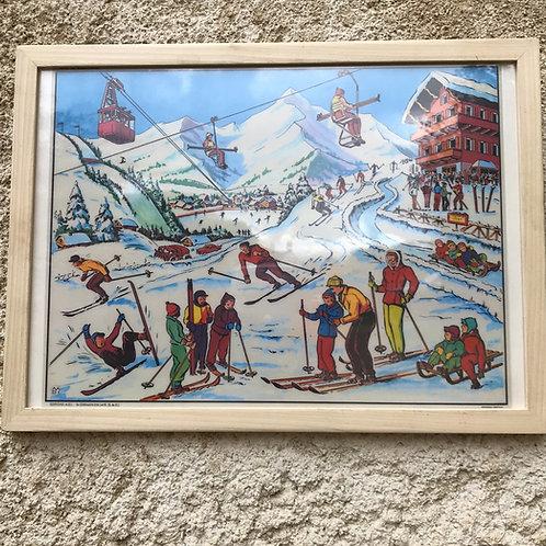 Framed Vintage Mid 20th Century Ski resort colour artwork poster print.