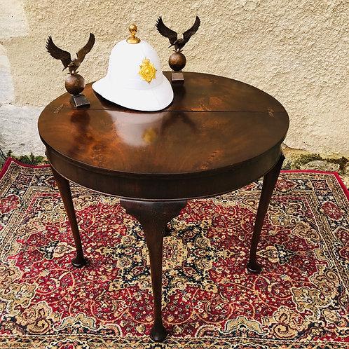 Mahogany Demi-Lune turnover tea table