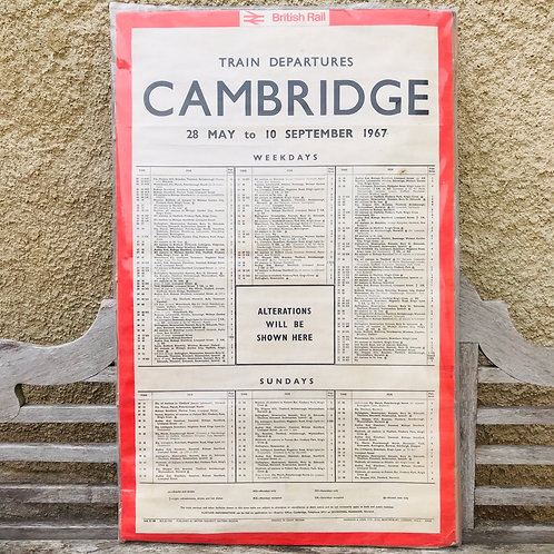 British Rail 1967 Station Departures Time Table Poster - Cambridge Station