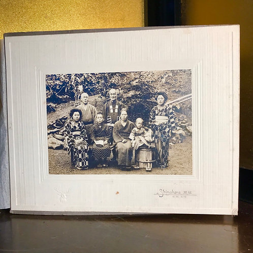 Early 20thC Japanese photographic print of 7 person family group