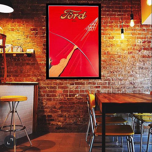 Framed Art Deco design Ford V8 advertising poster.