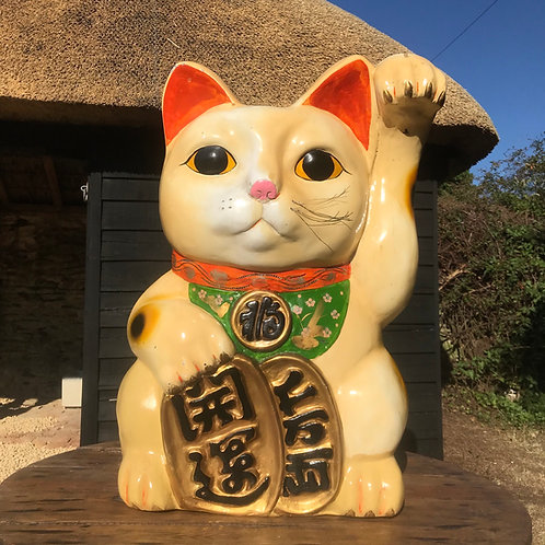 Extra Large Genuine Vintage Lucky Cat - Maneki Neko