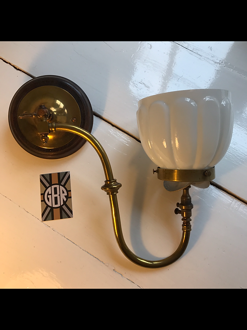 Edwardian Gas Wall Light By George Bray & Co Ltd Inc Polished Glass Shade