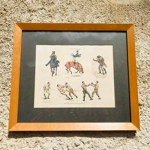 Framed Antique engraved print by Henry Thomas Alken - Symptoms 41