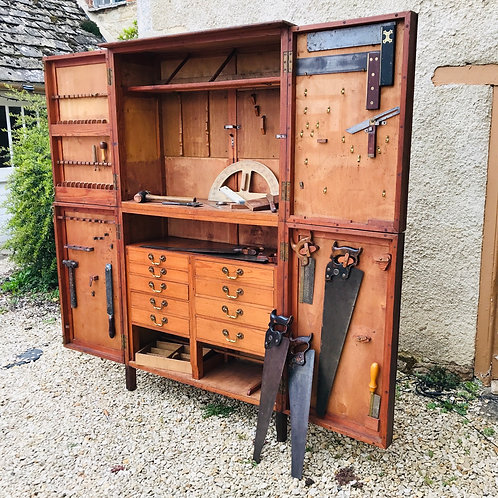 Pitch Pine/ply tool cabinet from the estate of Mr Thomas Jones, Head Carver.