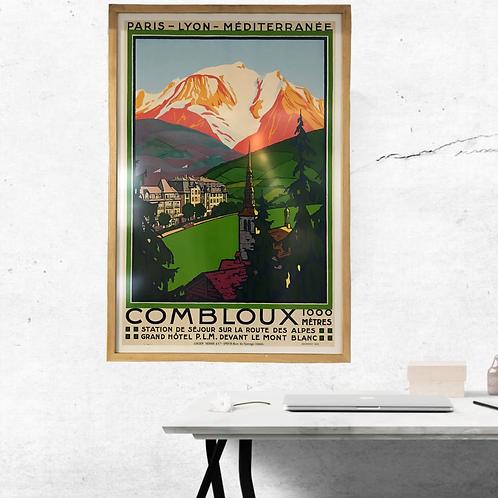 Vintage framed ski resort travel poster - Combloux