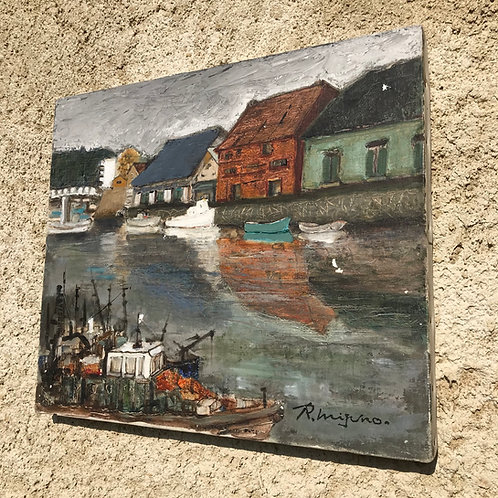 Original oil on canvas artwork- Tranquil harbour by R Mizuno