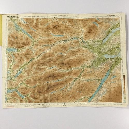 Circa 1920 Bartholomew's Reduced Survey Map - Central Ross & Cromarty, Scotland.