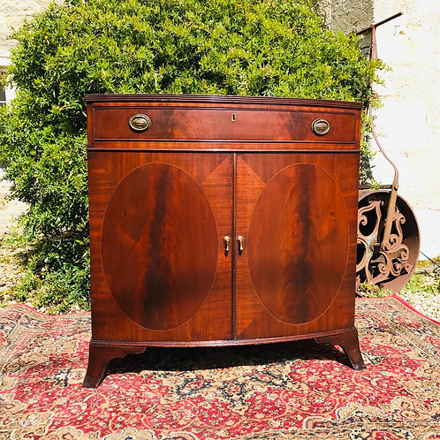 Antique Mahogany Inlaid Bowfront Cupboard Chest.