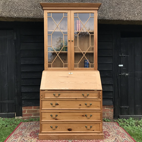 Pine Bureau Bookcase with feature astral glazed doors
