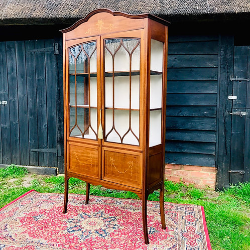 Ewardian mahogany and marquetry display cabinet