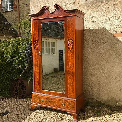 Burr Walnut Veneer Art Nouveau Armoire