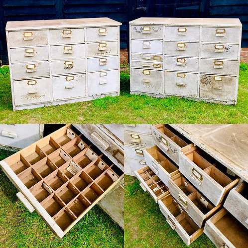 Double Bank of 1940s Hardware / Haberdashery drawers - refurbishment project.