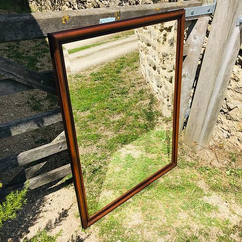 Rectangular Mahogany Mirror with Contrasting Band Detail