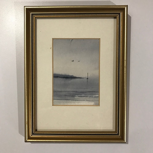 Framed miniature hand painted seascape on pure silk by Sue Rooney.