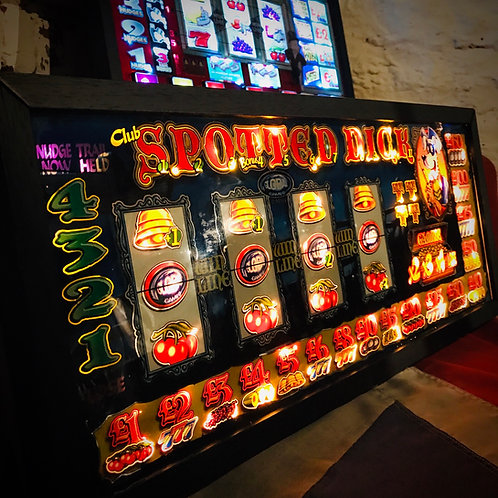 Vintage 'Spotted Dick' slot/fruit machine illuminated wall art.