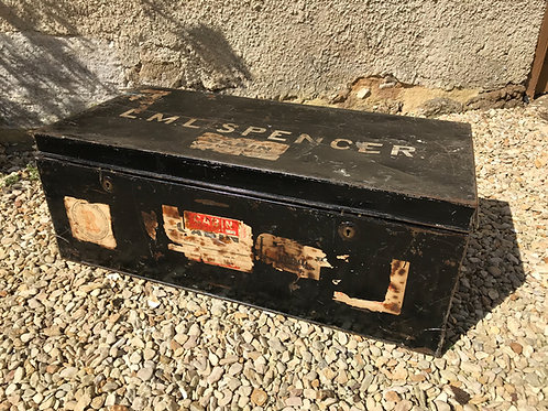Genuine vintage personalised metal travel trunk