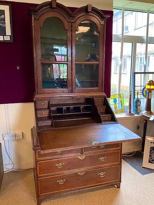 19th Century Queen Anne style Oak Double Top Bureau Bookcase
