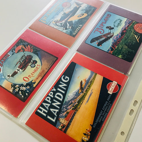Collection of 48 postcards featuring vintage aircraft and flight