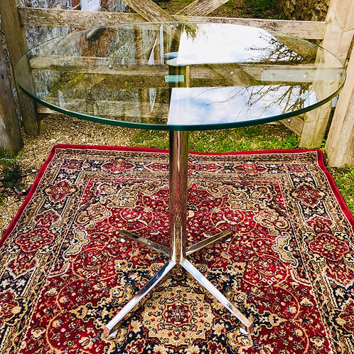 Contract quality tall chrome and circular glass drinks table