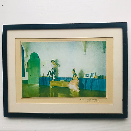 Framed vintage print of Sir William Russell Flint's - In The Studio
