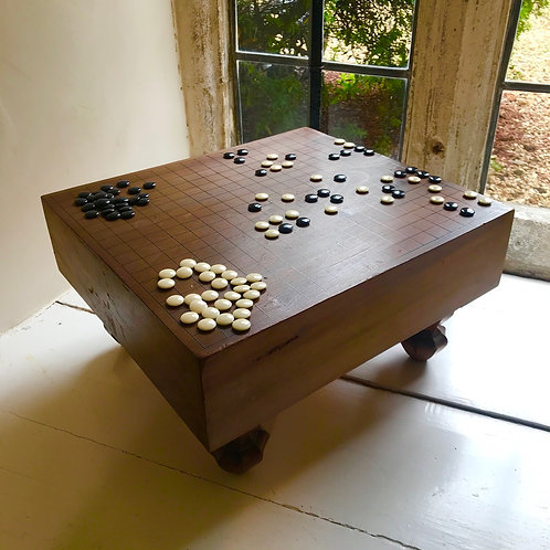 Vintage Japanese Go Games board with legs and playing stones