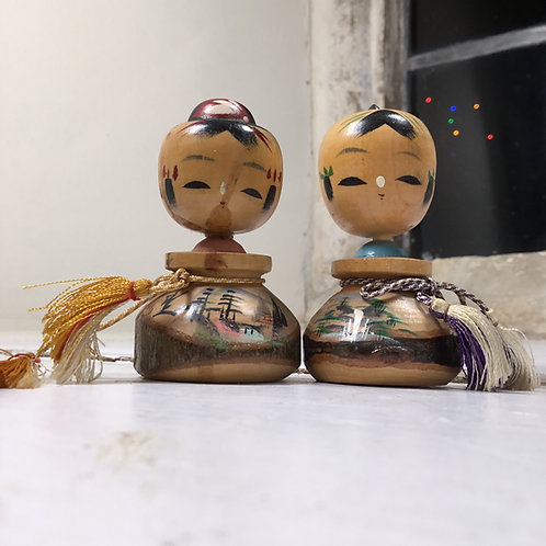 Pair of vintage 'Creative' Kokeshi Dolls - ref#3621/3619