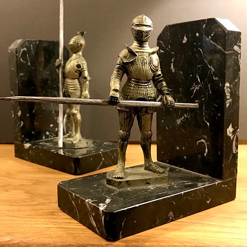 Vintage French Knight Marble Bookends