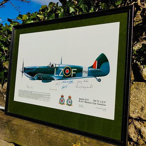 Framed vintage RAF Squadron print - Spitfire TB752.