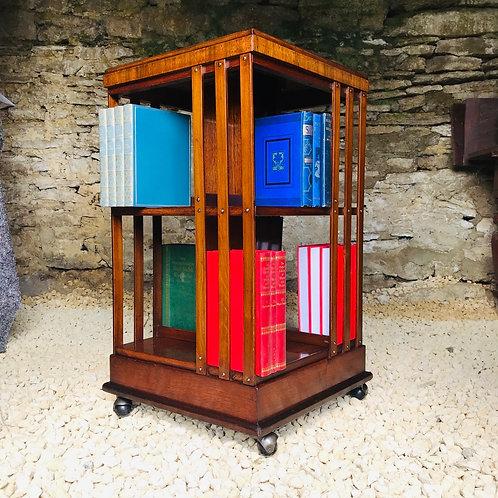 1920s 2 Tier Mahogany Bookcase on Corner Castors