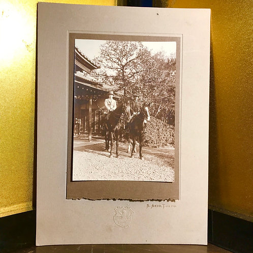 Early 20thC Japanese photographic print of two men on horseback