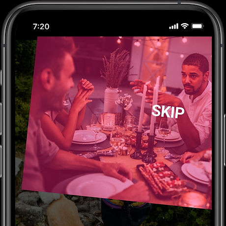 A screenshot showing the best way to organize photos with an image being swiped up to be skipped.