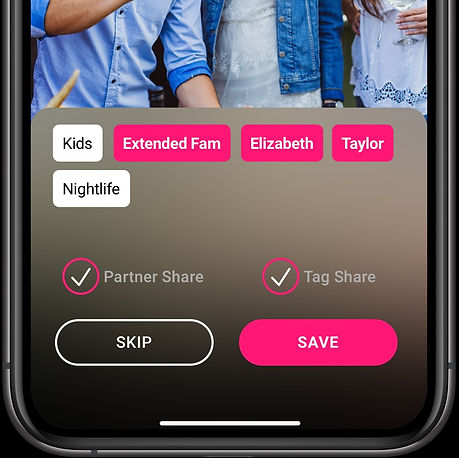 A screen of the Backstory app with a user tagging an image to be shared via Backstory's Tag Share.