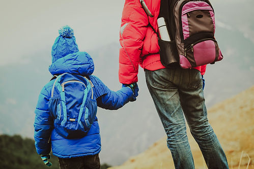 A dad and child, holding hands, wearing snow gear, backs turned to the camera, gaze into the distance during a winter hike.
