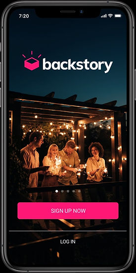 The Backstory App landing page with four twenty-somethings celebrating with sparklers on a porch.