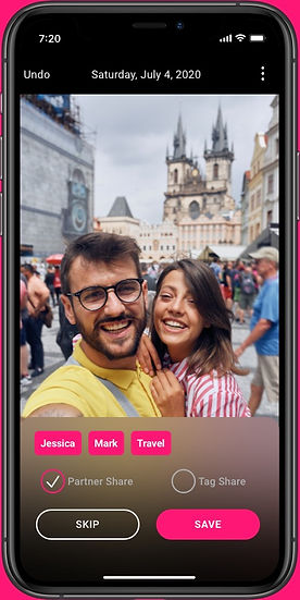 A Backstory app screenshot of Partner Share with an image of a young couple travelling in Europe.