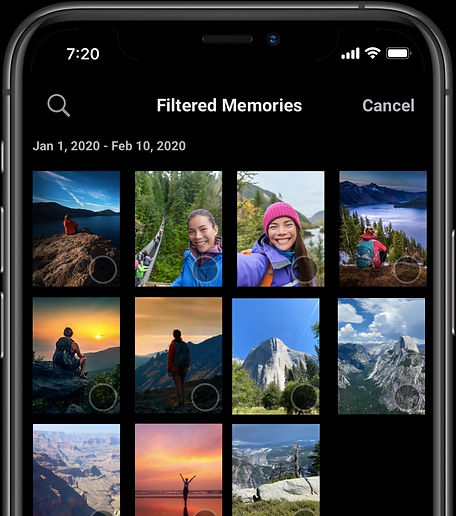 An example of filtered memories.  Only photos and videos of a user's national park trips are shown.