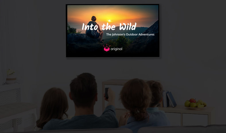 A mockup of a memory experience viewable on a family's TV.