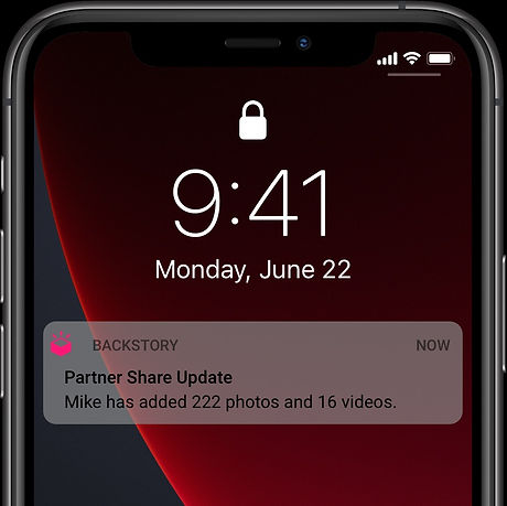The app notifying you when your partner has added 222 photos and 16 videos to Partner Share.