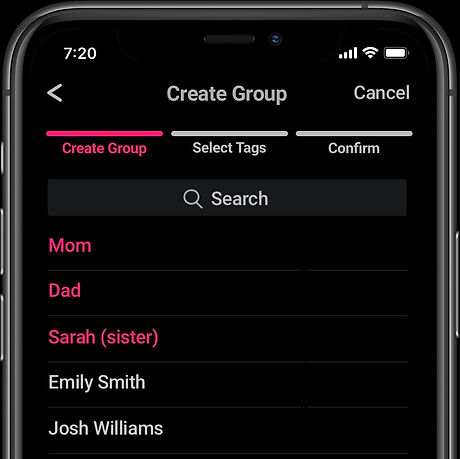 A screenshot showing how a user creates a Tag Share group by selecting contacts from a list.
