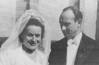 Theresa and Joe Vogt on Their Wedding Day
