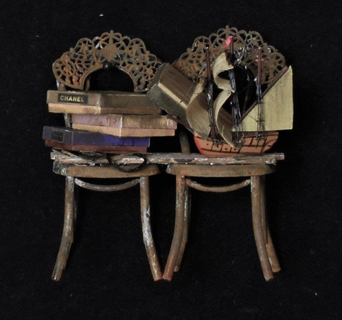 Chair Wall Hanging with Ships & Books