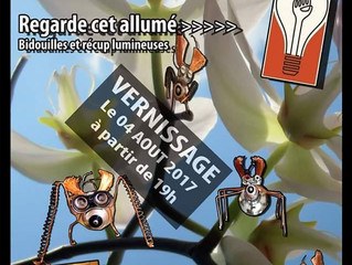 "demain 19h ad lib vernissage de l'expo de Fifi alias ""regarde cet allumé"" bidouilles e"