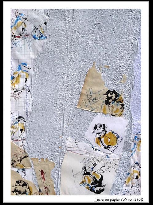 ENCRE sur papier recyclé artisanal By Pascale SEASSAU