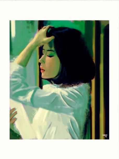 La fille avec une main dans les cheveux 30 x 40 cm