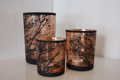 Photophore en verre cuivré et noir